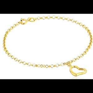 "Jewelry - 14k Yellow Gold Heart Charm Bracelet 7"""